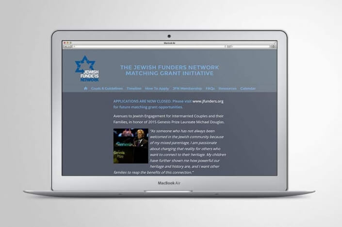 Matching Grant website homepage for Michael Douglas and the Jewish Funders Network