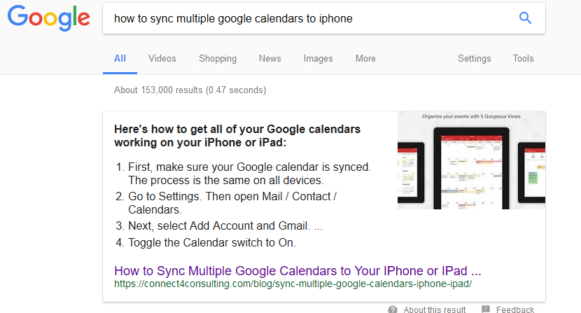 how to sync multiple google calendars to iphone Google search