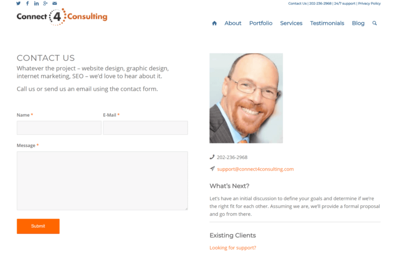 contact page example from Connect4 Consulting website