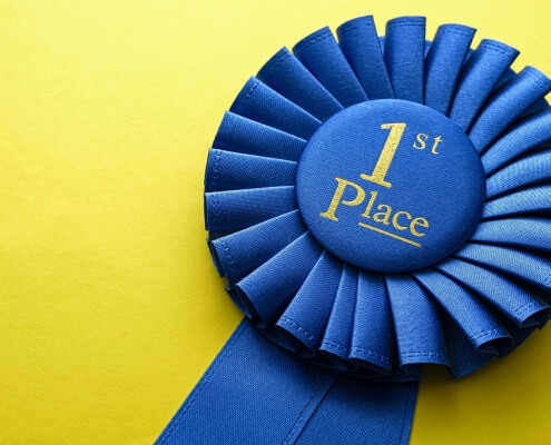 First place winners rosette with blue ribbon